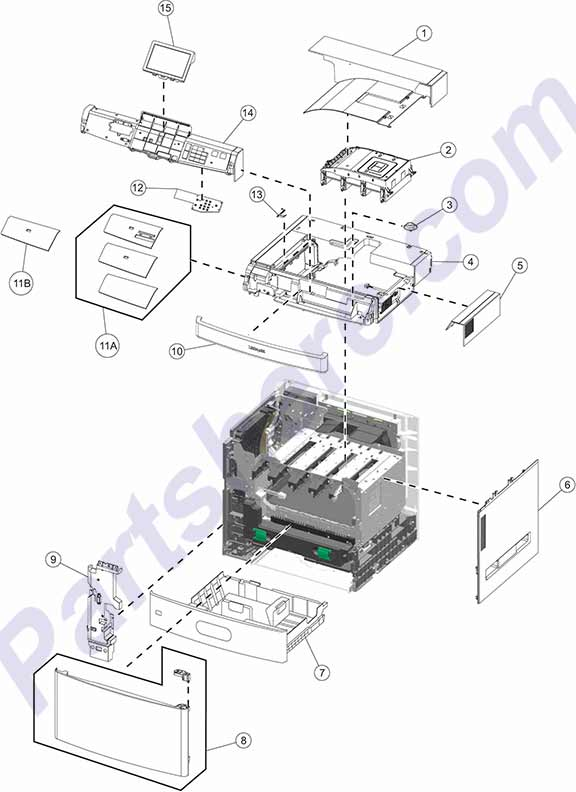 HP parts picture diagram for 40X7329, 40X7108, 40X7109, 40X7110, 40X7111, 40X7113, 40X7114, 40X7115, 40X7116, 40X7117, 40X7118, 40X7119, 40X7125, 40X7127