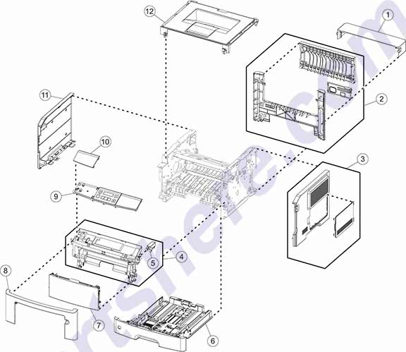 HP parts picture diagram for 40X8064, 40X8059, 40X8065, 40X8051, 40X8052, 40X8053, 40X8054, 40X8055, 40X8302, 40X8303